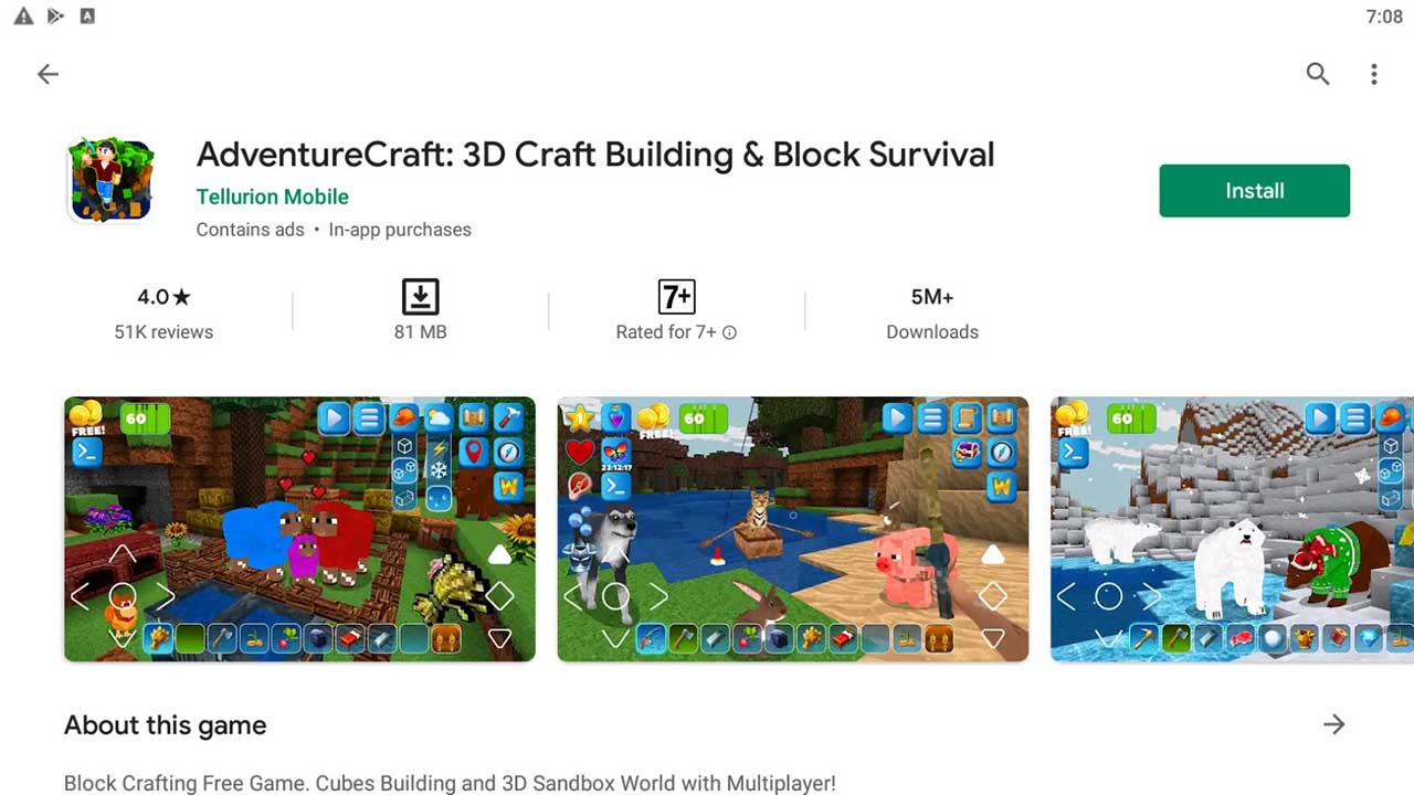 Download and Install AdventureCraft: 3D Craft Building & Block Survival For PC (Windows 10/8/7)